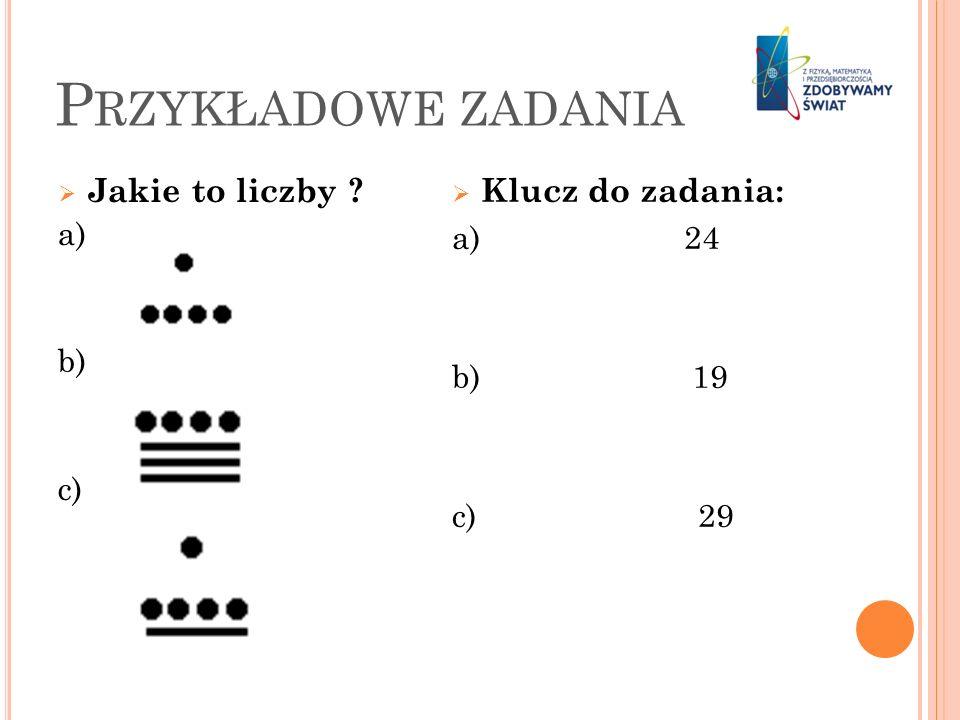P RZYKŁADOWE ZADANIA Jakie to liczby ? a) b) c) Klucz do zadania: a) 24 b) 19 c) 29