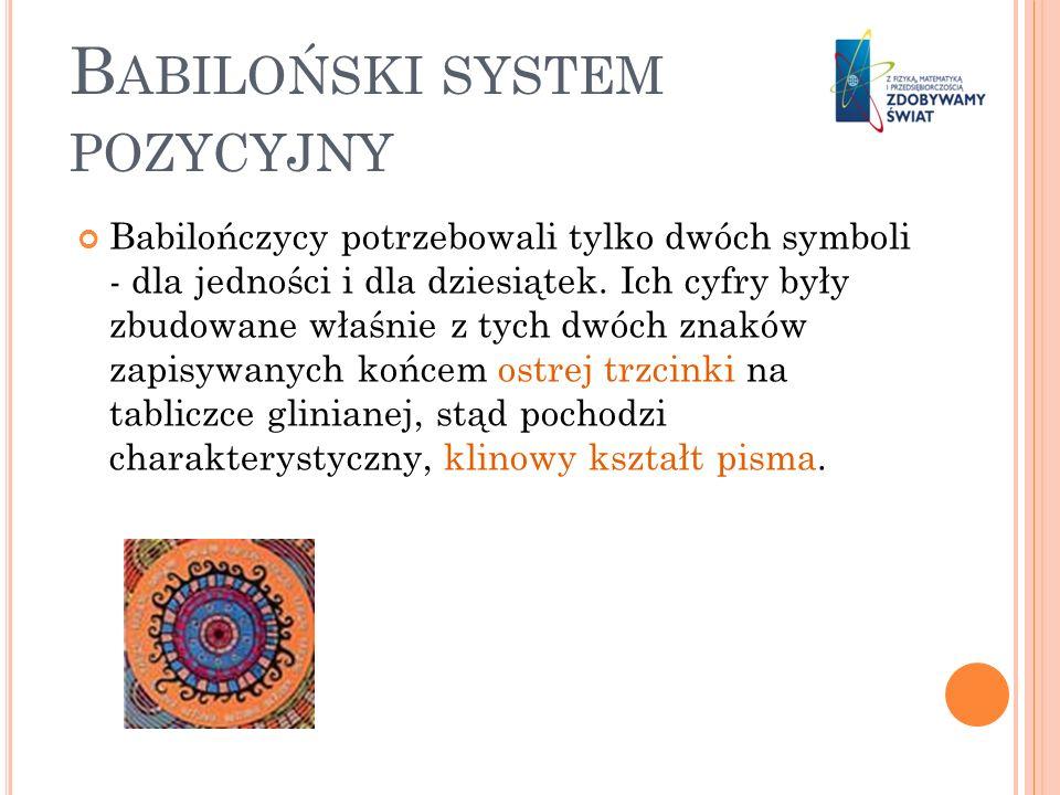 B ABILOŃSKI SYSTEM POZYCYJNY Babilończycy potrzebowali tylko dwóch symboli - dla jedności i dla dziesiątek. Ich cyfry były zbudowane właśnie z tych dw