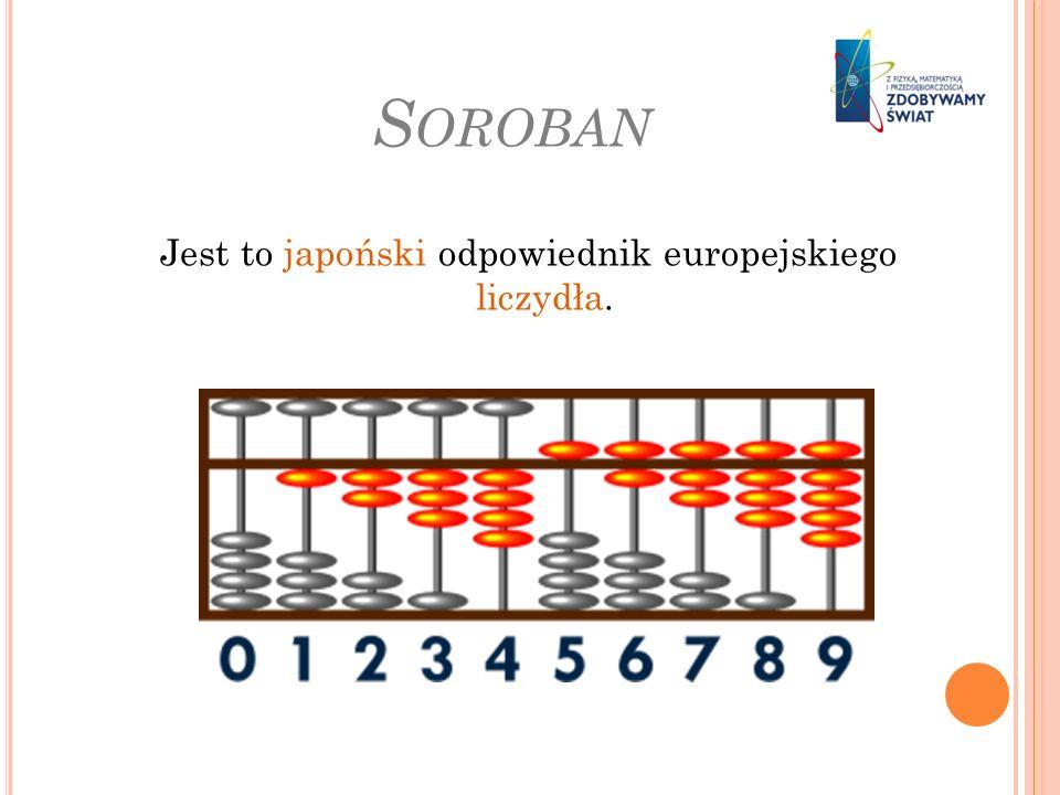 S OROBAN Jest to japoński odpowiednik europejskiego liczydła.