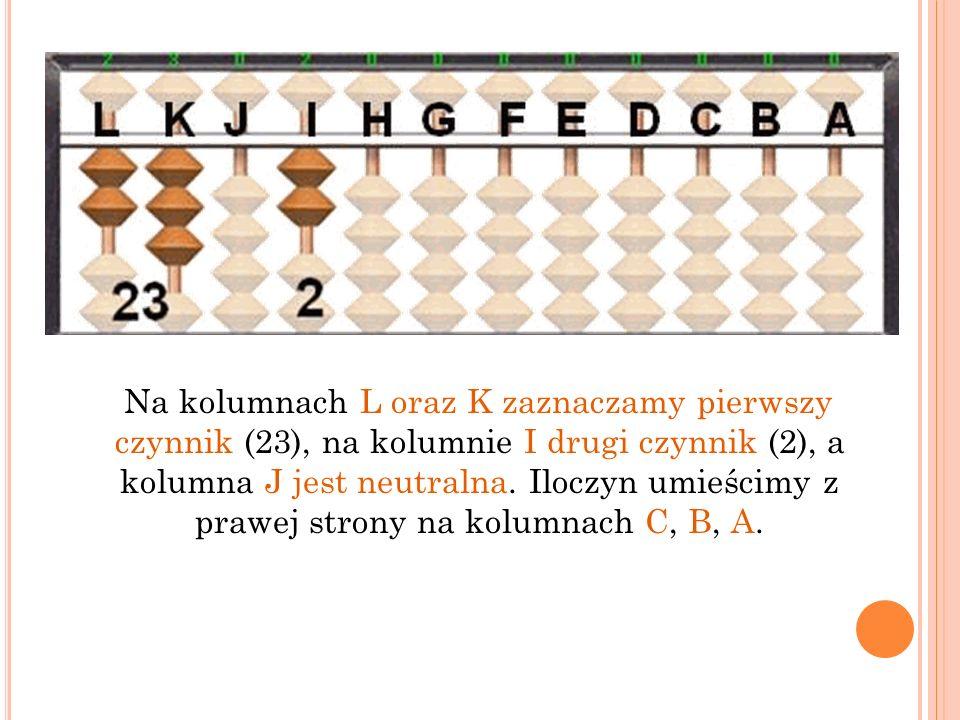 Na kolumnach L oraz K zaznaczamy pierwszy czynnik (23), na kolumnie I drugi czynnik (2), a kolumna J jest neutralna. Iloczyn umieścimy z prawej strony