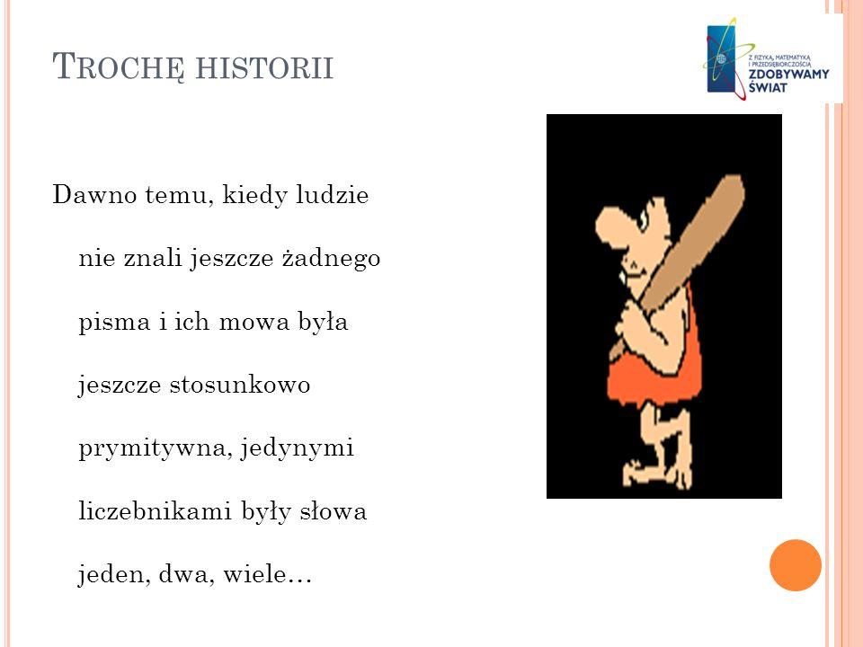 T ROCHĘ HISTORII Dawno temu, kiedy ludzie nie znali jeszcze żadnego pisma i ich mowa była jeszcze stosunkowo prymitywna, jedynymi liczebnikami były sł