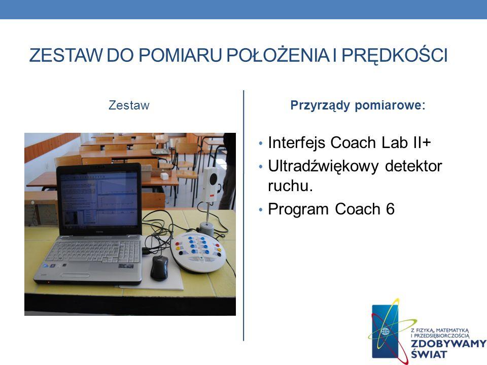ZESTAW DO POMIARU POŁOŻENIA I PRĘDKOŚCI ZestawPrzyrządy pomiarowe: Interfejs Coach Lab II+ Ultradźwiękowy detektor ruchu. Program Coach 6