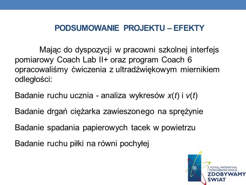 PODSUMOWANIE PROJEKTU – EFEKTY Mając do dyspozycji w pracowni szkolnej interfejs pomiarowy Coach Lab II+ oraz program Coach 6 opracowaliśmy ćwiczenia