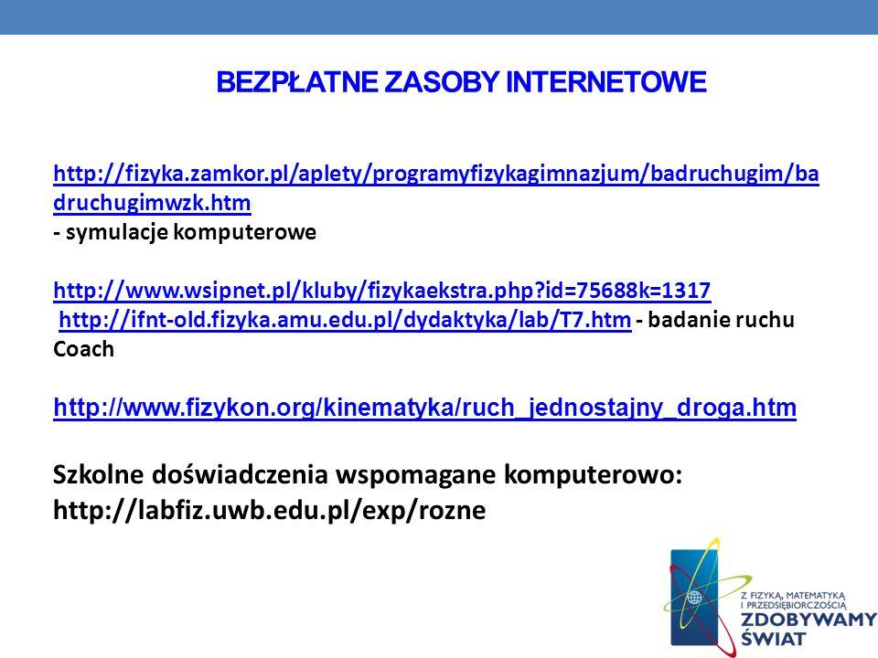 BEZPŁATNE ZASOBY INTERNETOWE http://fizyka.zamkor.pl/aplety/programyfizykagimnazjum/badruchugim/ba druchugimwzk.htm - symulacje komputerowe http://www