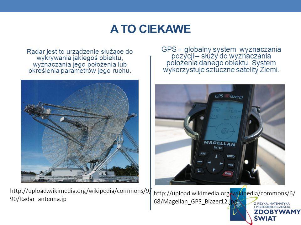 A TO CIEKAWE Radar jest to urządzenie służące do wykrywania jakiegoś obiektu, wyznaczania jego położenia lub określenia parametrów jego ruchu. GPS – g