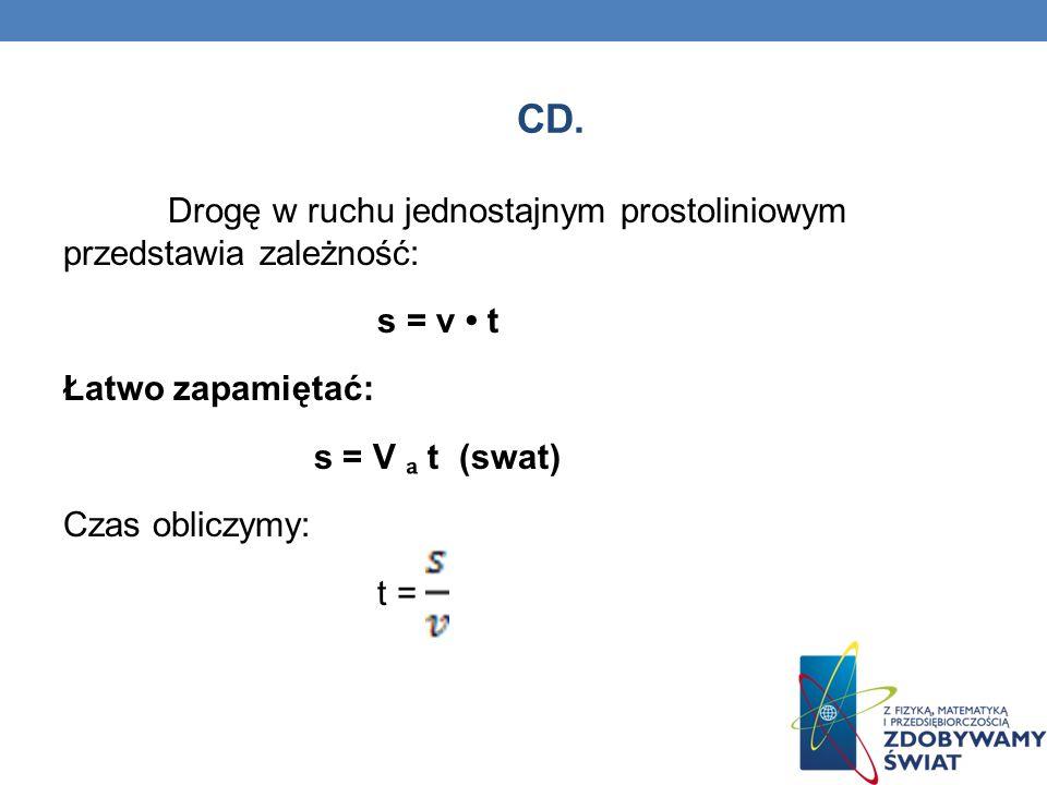CD. Drogę w ruchu jednostajnym prostoliniowym przedstawia zależność: s = v t Łatwo zapamiętać: s = V t (swat) Czas obliczymy: t =