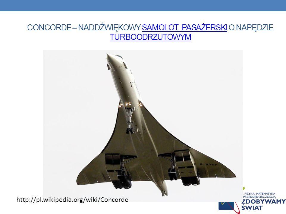 CONCORDE – NADDŹWIĘKOWY SAMOLOT PASAŻERSKI O NAPĘDZIE TURBOODRZUTOWYMSAMOLOT PASAŻERSKI TURBOODRZUTOWYM http://pl.wikipedia.org/wiki/Concorde