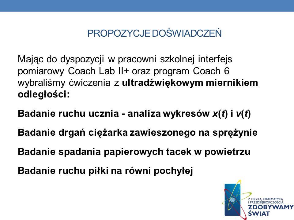 PROPOZYCJE DOŚWIADCZEŃ Mając do dyspozycji w pracowni szkolnej interfejs pomiarowy Coach Lab II+ oraz program Coach 6 wybraliśmy ćwiczenia z ultradźwi