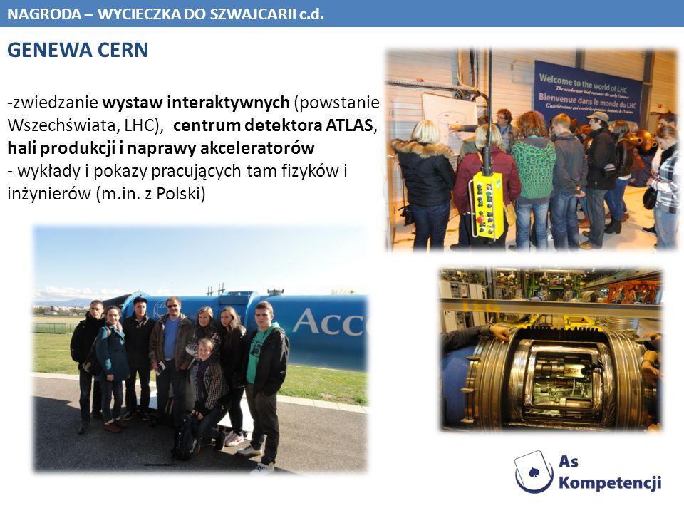 NAGRODA – WYCIECZKA DO SZWAJCARII c.d. GENEWA CERN -zwiedzanie wystaw interaktywnych (powstanie Wszechświata, LHC), centrum detektora ATLAS, hali prod