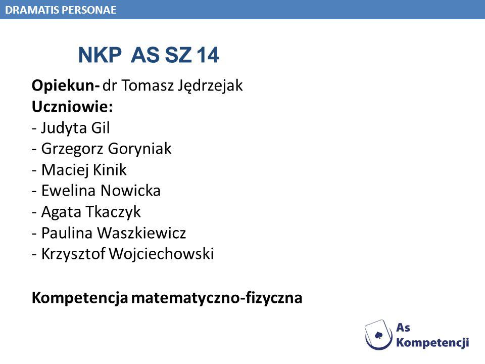 NKP AS SZ 14 Opiekun- dr Tomasz Jędrzejak Uczniowie: - Judyta Gil - Grzegorz Goryniak - Maciej Kinik - Ewelina Nowicka - Agata Tkaczyk - Paulina Waszk