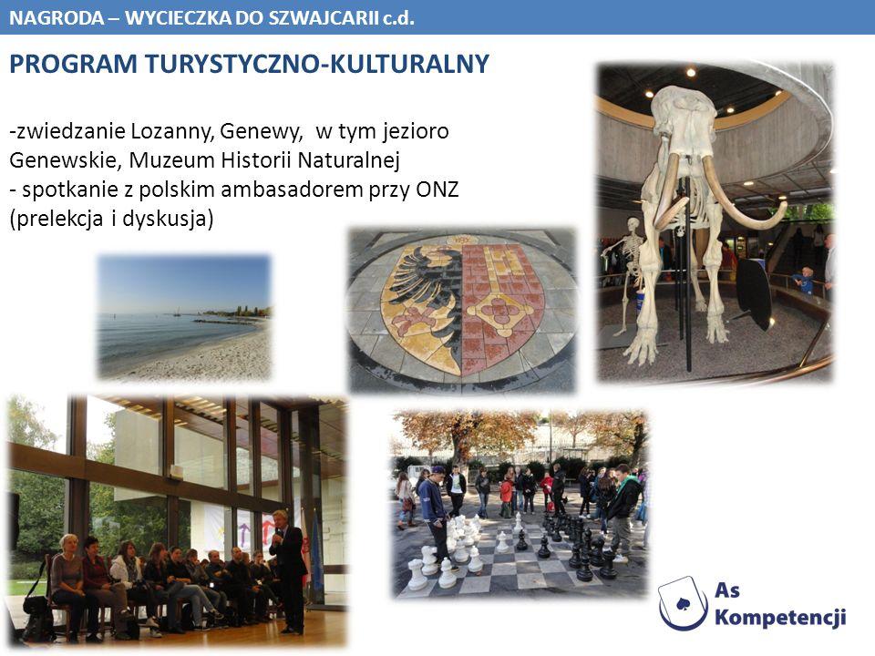 NAGRODA – WYCIECZKA DO SZWAJCARII c.d. PROGRAM TURYSTYCZNO-KULTURALNY -zwiedzanie Lozanny, Genewy, w tym jezioro Genewskie, Muzeum Historii Naturalnej
