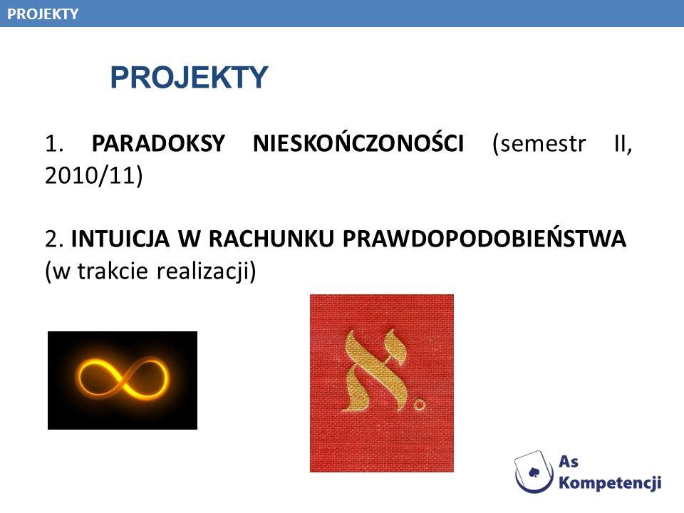 PROJEKTY 1. PARADOKSY NIESKOŃCZONOŚCI (semestr II, 2010/11) 2. INTUICJA W RACHUNKU PRAWDOPODOBIEŃSTWA (w trakcie realizacji) PROJEKTY