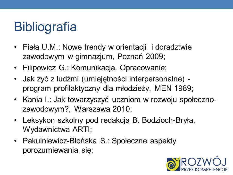 Bibliografia Rau K., Ziętkiewicz E.: Jak aktywizować uczniów.