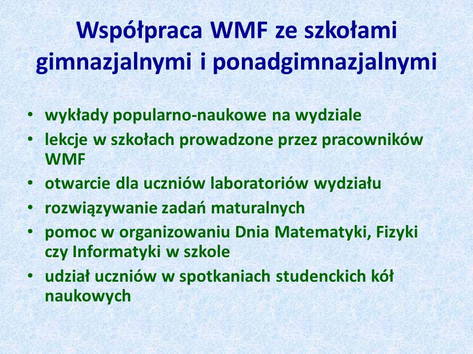 Współpraca WMF ze szkołami gimnazjalnymi i ponadgimnazjalnymi wykłady popularno-naukowe na wydziale lekcje w szkołach prowadzone przez pracowników WMF