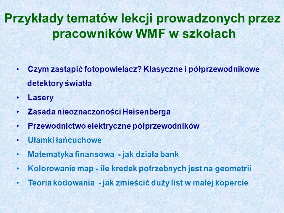 Przykłady tematów lekcji prowadzonych przez pracowników WMF w szkołach Czym zastąpić fotopowielacz? Klasyczne i półprzewodnikowe detektory światła Las