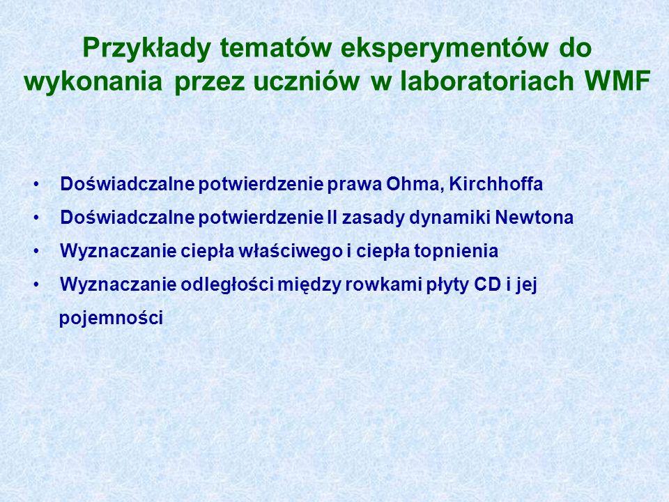 Przykłady tematów eksperymentów do wykonania przez uczniów w laboratoriach WMF Doświadczalne potwierdzenie prawa Ohma, Kirchhoffa Doświadczalne potwie