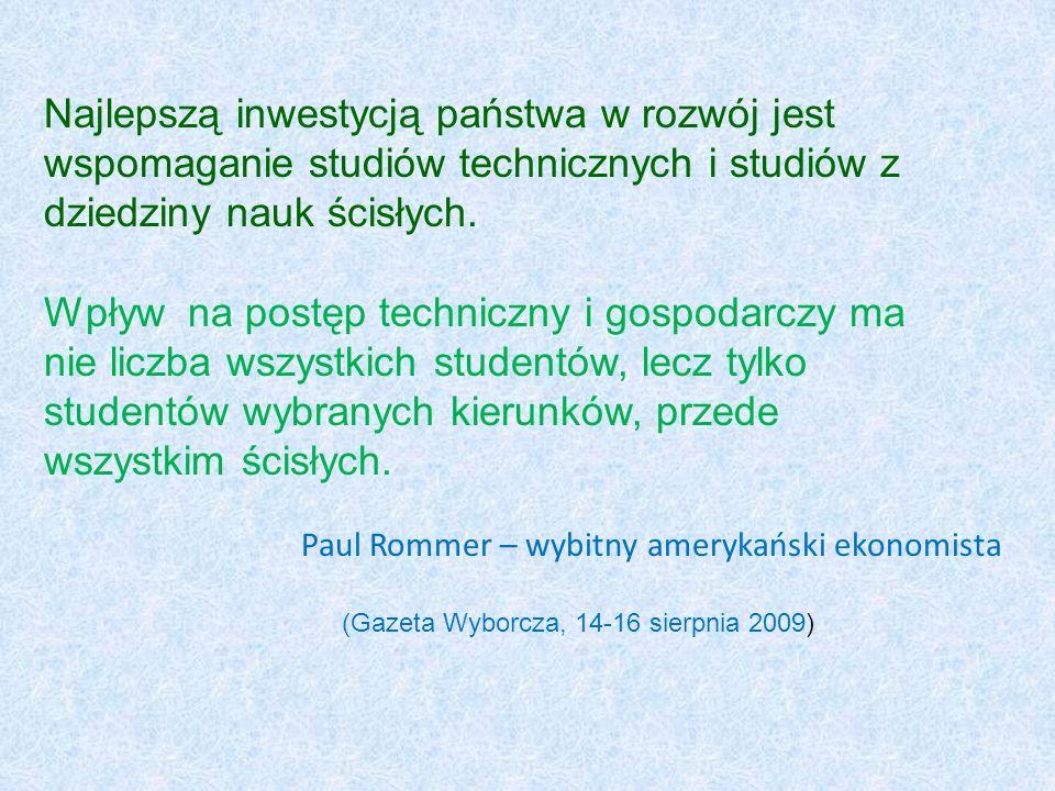 Paul Rommer – wybitny amerykański ekonomista Najlepszą inwestycją państwa w rozwój jest wspomaganie studiów technicznych i studiów z dziedziny nauk śc