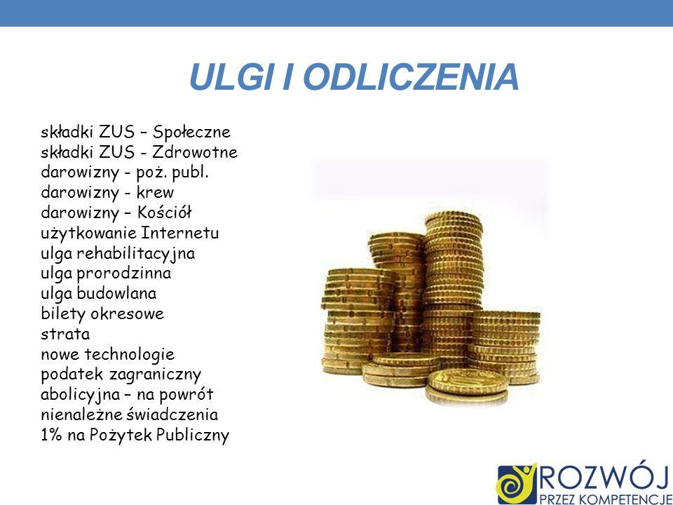 ULGI I ODLICZENIA składki ZUS – Społeczne składki ZUS - Zdrowotne darowizny - poż.