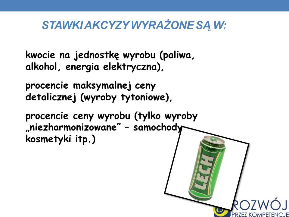 STAWKI AKCYZY WYRAŻONE SĄ W: kwocie na jednostkę wyrobu (paliwa, alkohol, energia elektryczna), procencie maksymalnej ceny detalicznej (wyroby tytonio