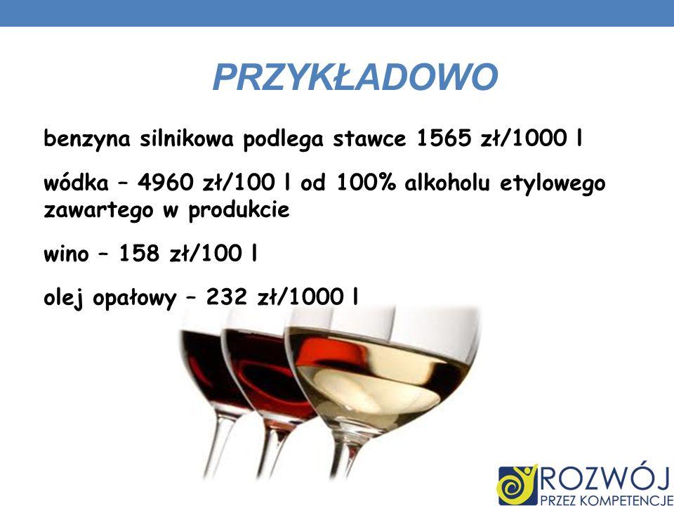 PRZYKŁADOWO benzyna silnikowa podlega stawce 1565 zł/1000 l wódka – 4960 zł/100 l od 100% alkoholu etylowego zawartego w produkcie wino – 158 zł/100 l olej opałowy – 232 zł/1000 l