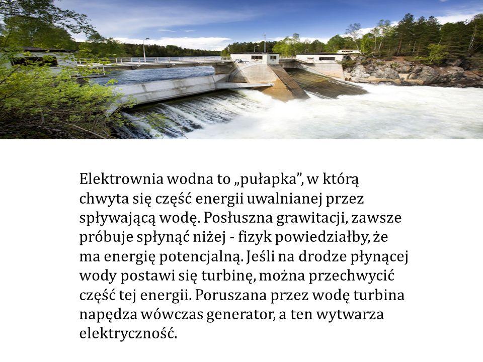 Elektrownia wodna to pułapka, w którą chwyta się część energii uwalnianej przez spływającą wodę. Posłuszna grawitacji, zawsze próbuje spłynąć niżej -