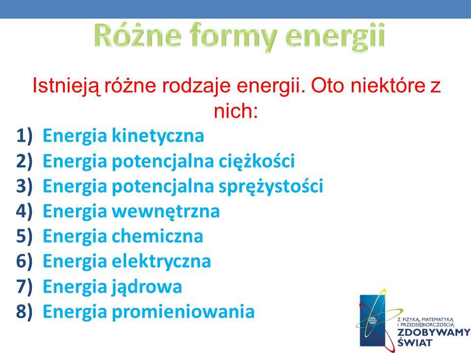Istnieją różne rodzaje energii. Oto niektóre z nich: 1)Energia kinetyczna 2)Energia potencjalna ciężkości 3)Energia potencjalna sprężystości 4)Energia