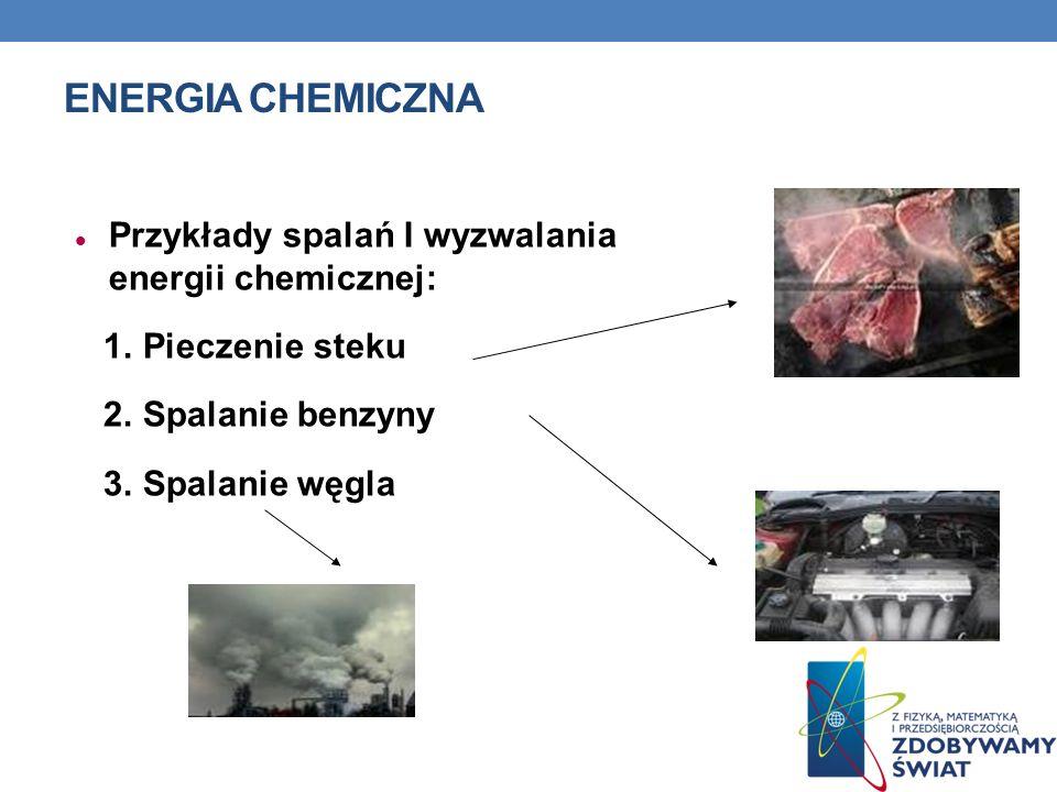 ENERGIA CHEMICZNA Przykłady spalań I wyzwalania energii chemicznej: 1. Pieczenie steku 2. Spalanie benzyny 3. Spalanie węgla