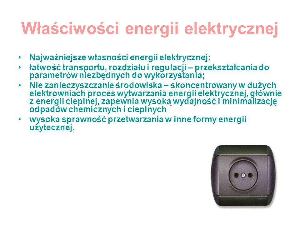 Właściwości energii elektrycznej Najważniejsze własności energii elektrycznej: łatwość transportu, rozdziału i regulacji – przekształcania do parametr