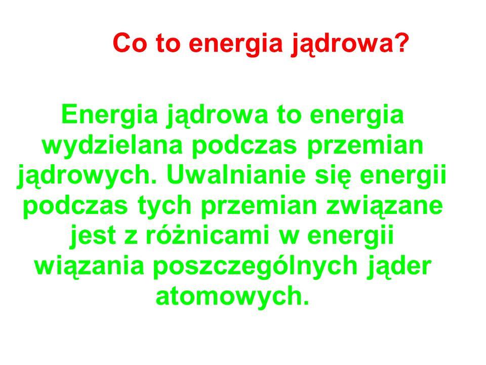 Co to energia jądrowa? Energia jądrowa to energia wydzielana podczas przemian jądrowych. Uwalnianie się energii podczas tych przemian związane jest z