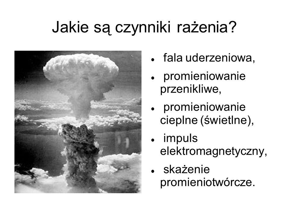 Jakie są czynniki rażenia? fala uderzeniowa, promieniowanie przenikliwe, promieniowanie cieplne (świetlne), impuls elektromagnetyczny, skażenie promie