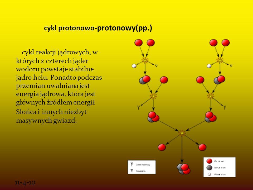 11-4-10 cykl protonowo -protonowy(pp.) cykl reakcji jądrowych, w których z czterech jąder wodoru powstaje stabilne jądro helu. Ponadto podczas przemia