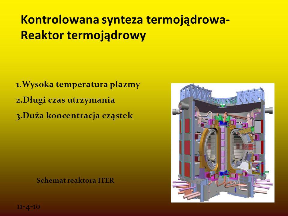 11-4-10 Kontrolowana synteza termojądrowa- Reaktor termojądrowy 1.Wysoka temperatura plazmy 2.Długi czas utrzymania 3.Duża koncentracja cząstek Schema