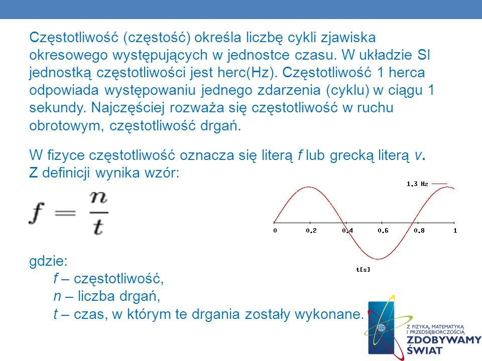 Częstotliwość (częstość) określa liczbę cykli zjawiska okresowego występujących w jednostce czasu. W układzie SI jednostką częstotliwości jest herc(Hz