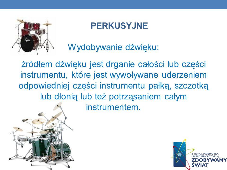 PERKUSYJNE Wydobywanie dźwięku: źródłem dźwięku jest drganie całości lub części instrumentu, które jest wywoływane uderzeniem odpowiedniej części inst