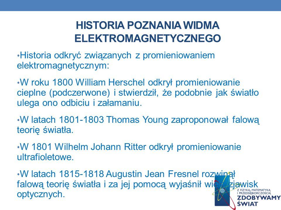 HISTORIA POZNANIA WIDMA ELEKTROMAGNETYCZNEGO Historia odkryć związanych z promieniowaniem elektromagnetycznym: W roku 1800 William Herschel odkrył pro