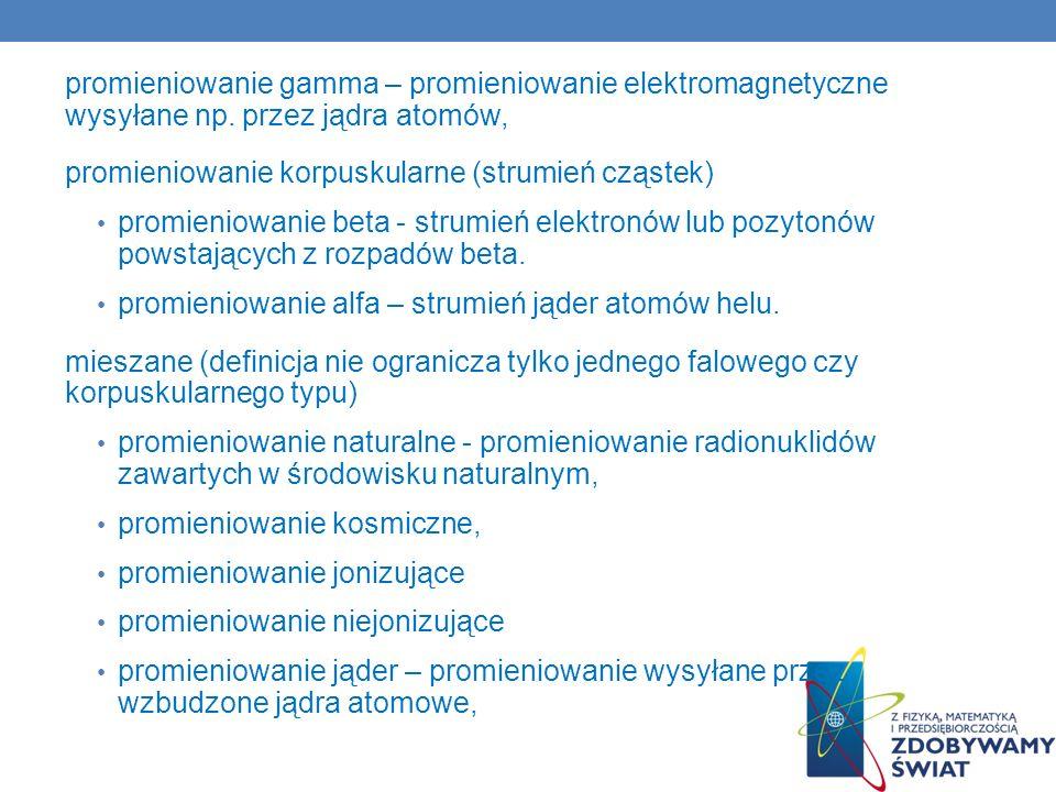 promieniowanie gamma – promieniowanie elektromagnetyczne wysyłane np. przez jądra atomów, promieniowanie korpuskularne (strumień cząstek) promieniowan