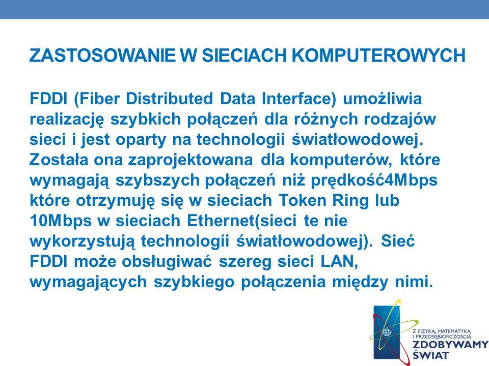 ZASTOSOWANIE W SIECIACH KOMPUTEROWYCH FDDI (Fiber Distributed Data Interface) umożliwia realizację szybkich połączeń dla różnych rodzajów sieci i jest