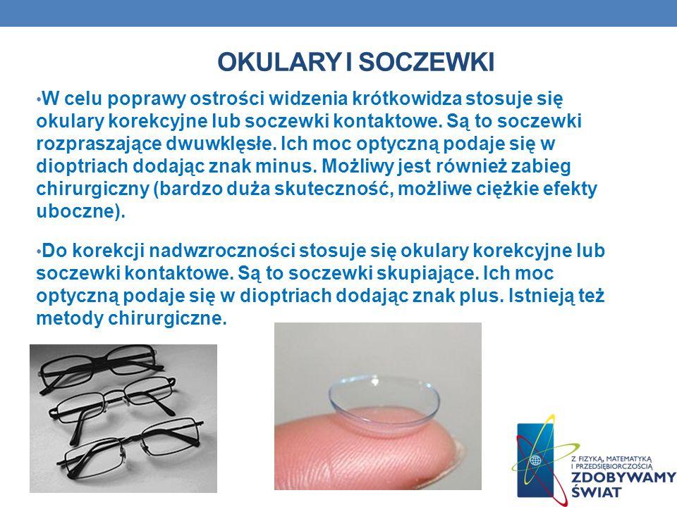 OKULARY I SOCZEWKI W celu poprawy ostrości widzenia krótkowidza stosuje się okulary korekcyjne lub soczewki kontaktowe. Są to soczewki rozpraszające d