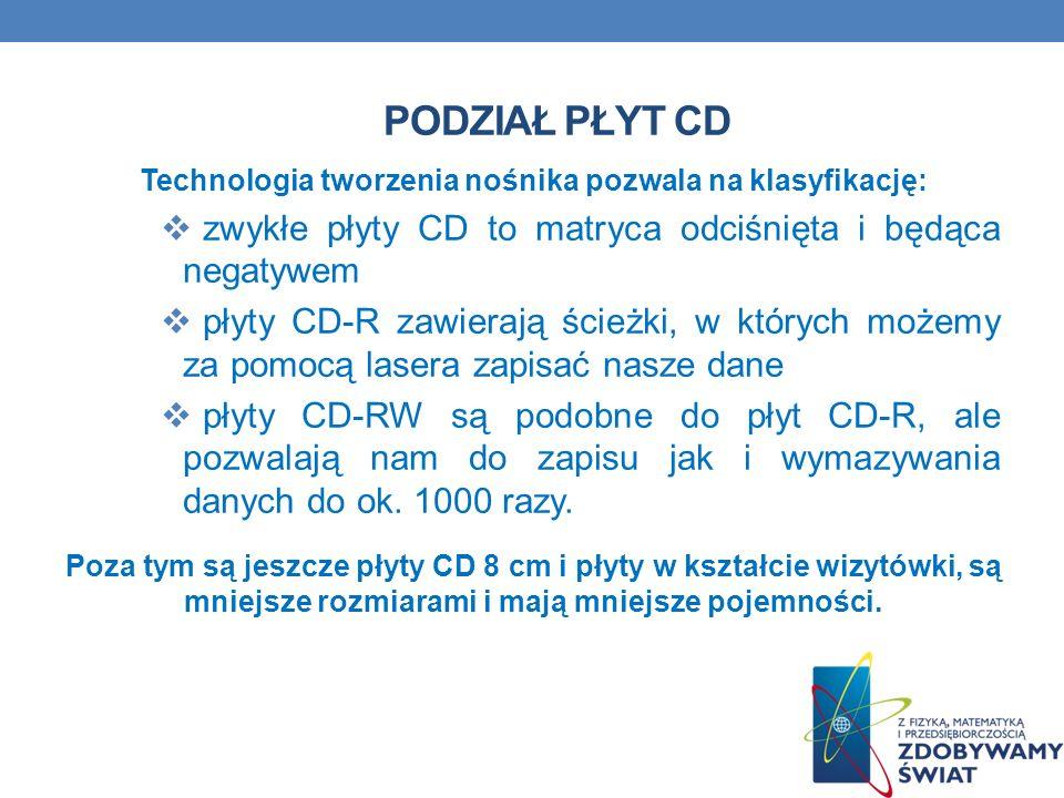 PODZIAŁ PŁYT CD Technologia tworzenia nośnika pozwala na klasyfikację: zwykłe płyty CD to matryca odciśnięta i będąca negatywem płyty CD-R zawierają ś