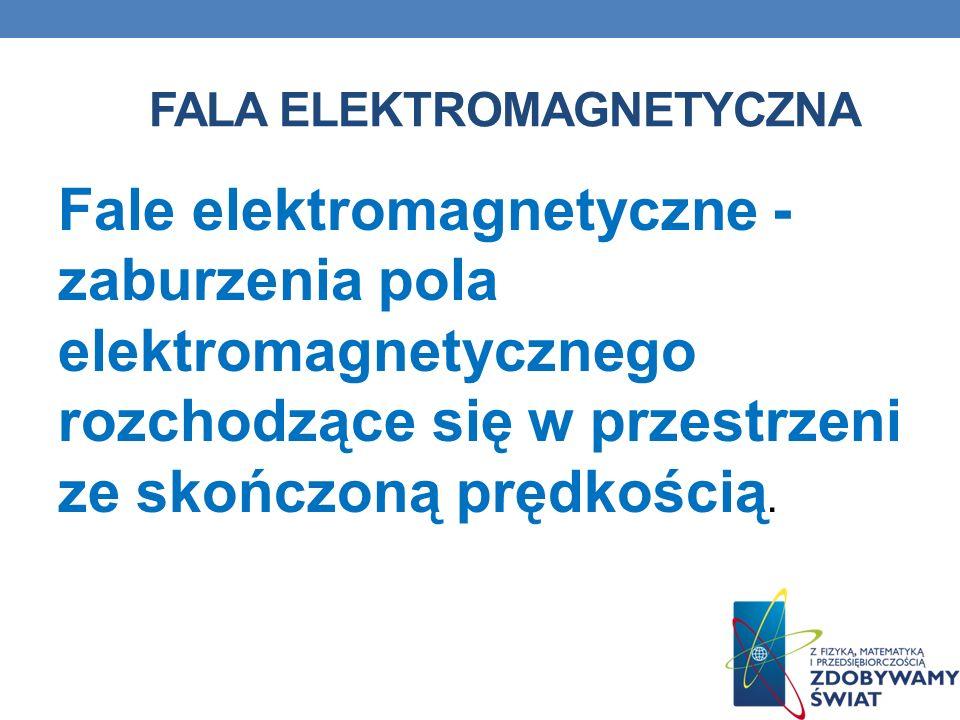 FALA ELEKTROMAGNETYCZNA Fale elektromagnetyczne - zaburzenia pola elektromagnetycznego rozchodzące się w przestrzeni ze skończoną prędkością.