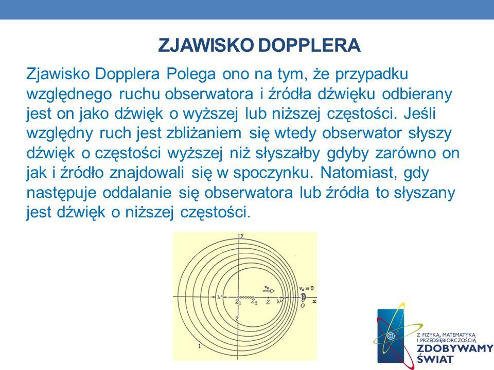 ZJAWISKO DOPPLERA Zjawisko Dopplera Polega ono na tym, że przypadku względnego ruchu obserwatora i źródła dźwięku odbierany jest on jako dźwięk o wyżs