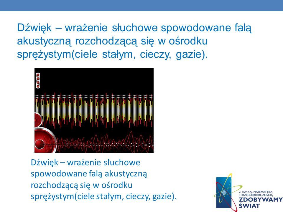 Dźwięk – wrażenie słuchowe spowodowane falą akustyczną rozchodzącą się w ośrodku sprężystym(ciele stałym, cieczy, gazie).