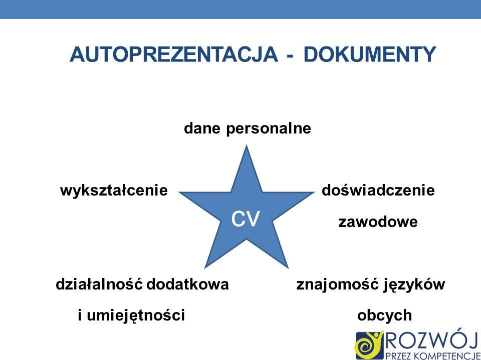 dane personalne wykształcenie doświadczenie zawodowe działalność dodatkowa znajomość języków i umiejętności obcych cv