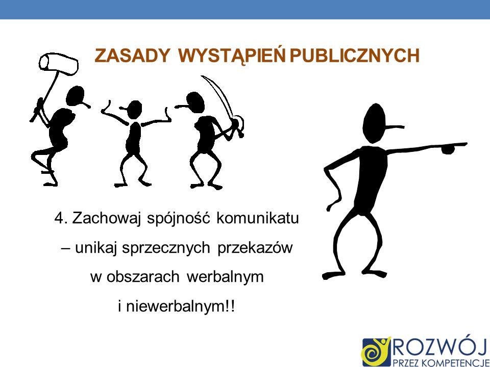 ZASADY WYSTĄPIEŃ PUBLICZNYCH 4. Zachowaj spójność komunikatu – unikaj sprzecznych przekazów w obszarach werbalnym i niewerbalnym!!