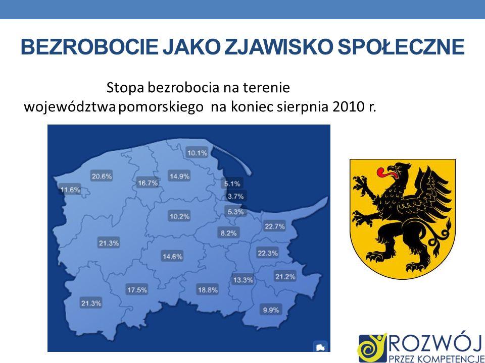 Stopa bezrobocia na terenie województwa pomorskiego na koniec sierpnia 2010 r.