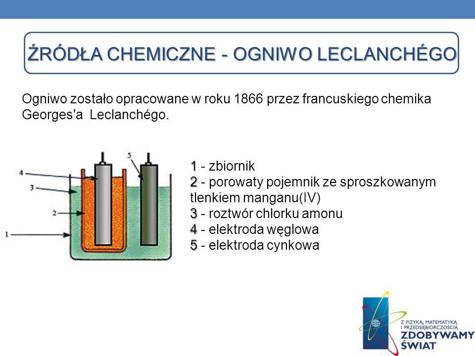 ŹRÓDŁA CHEMICZNE - OGNIWO LECLANCHÉGO 1 2 3 4 5 1 - zbiornik 2 - porowaty pojemnik ze sproszkowanym tlenkiem manganu(IV) 3 - roztwór chlorku amonu 4 -
