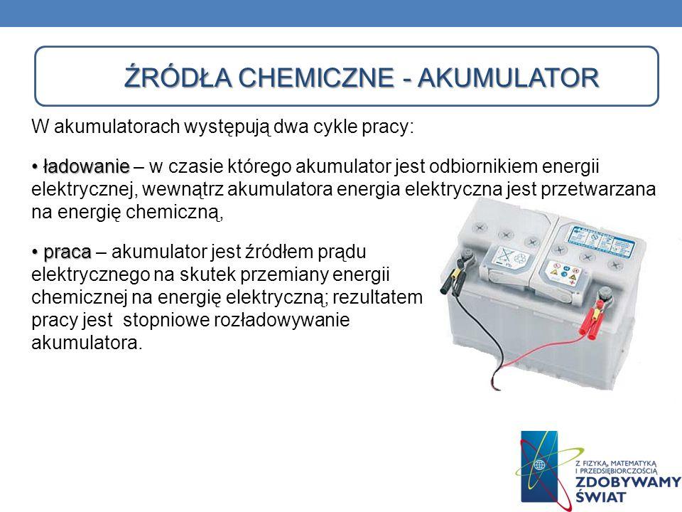 ŹRÓDŁA CHEMICZNE - AKUMULATOR ŹRÓDŁA CHEMICZNE - AKUMULATOR W akumulatorach występują dwa cykle pracy: ładowanie ładowanie – w czasie którego akumulat