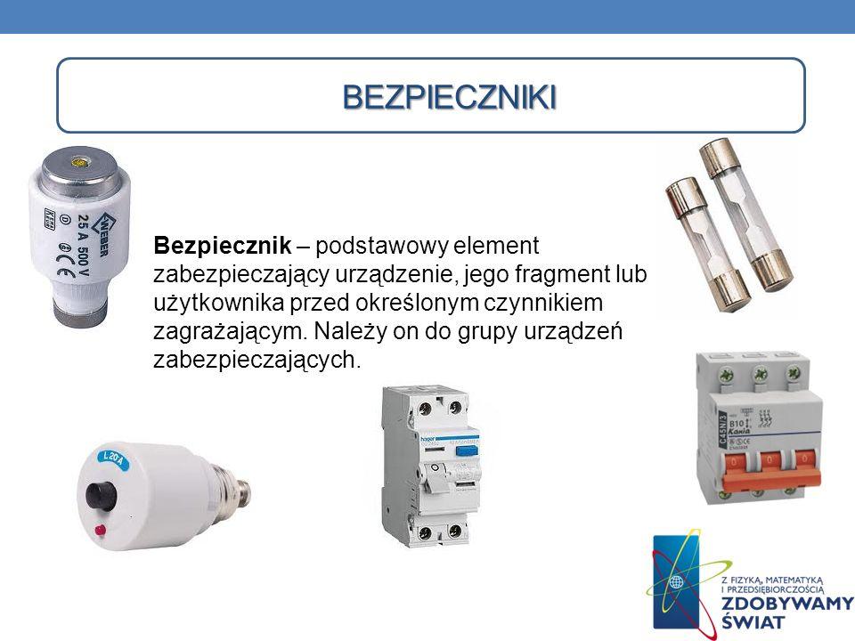 BEZPIECZNIKI Bezpiecznik – podstawowy element zabezpieczający urządzenie, jego fragment lub użytkownika przed określonym czynnikiem zagrażającym. Nale