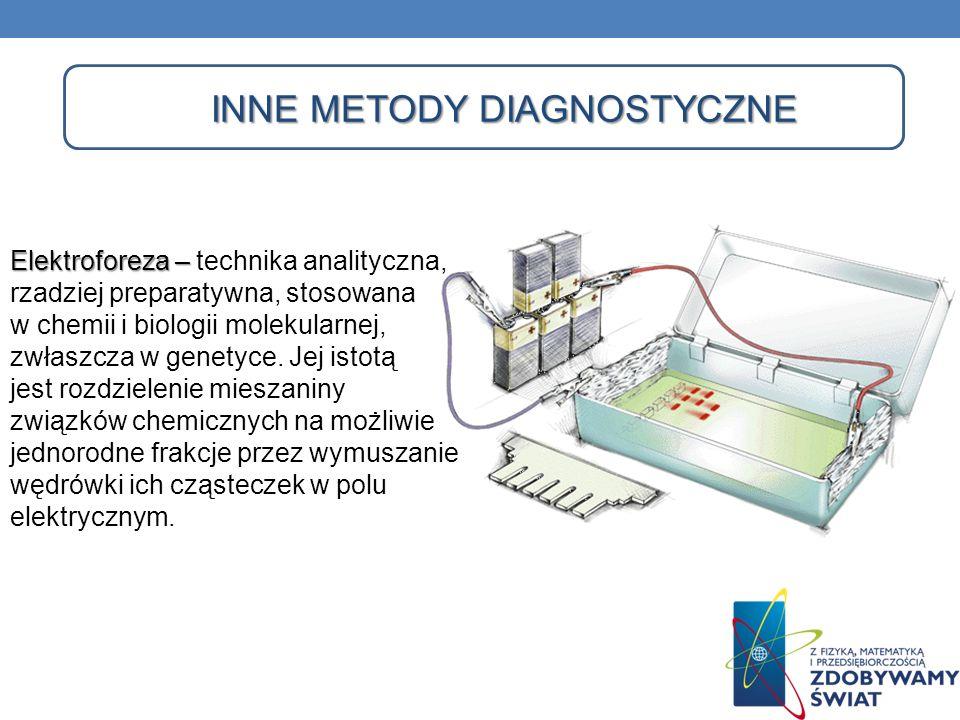 INNE METODY DIAGNOSTYCZNE Elektroforeza – Elektroforeza – technika analityczna, rzadziej preparatywna, stosowana w chemii i biologii molekularnej, zwł