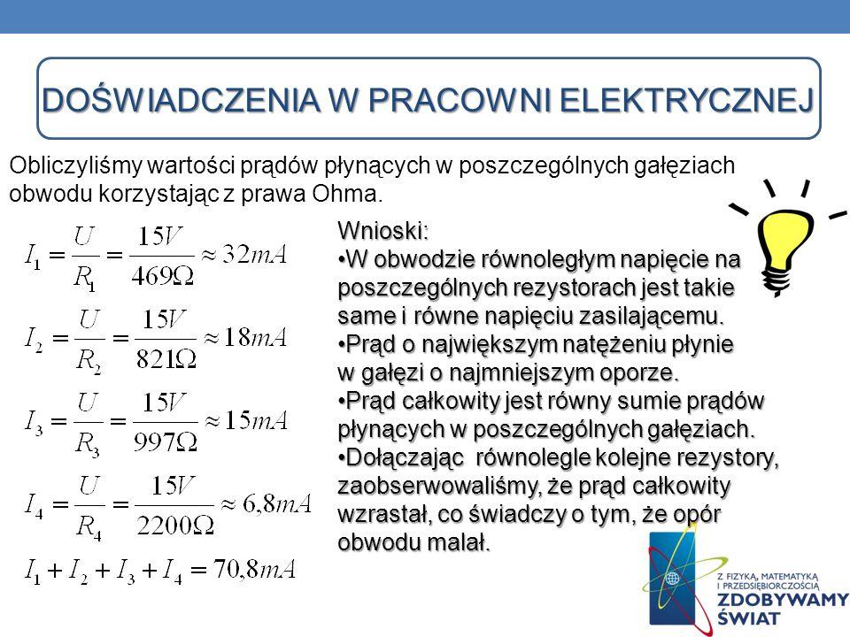 DOŚWIADCZENIA W PRACOWNI ELEKTRYCZNEJ DOŚWIADCZENIA W PRACOWNI ELEKTRYCZNEJ Obliczyliśmy wartości prądów płynących w poszczególnych gałęziach obwodu k